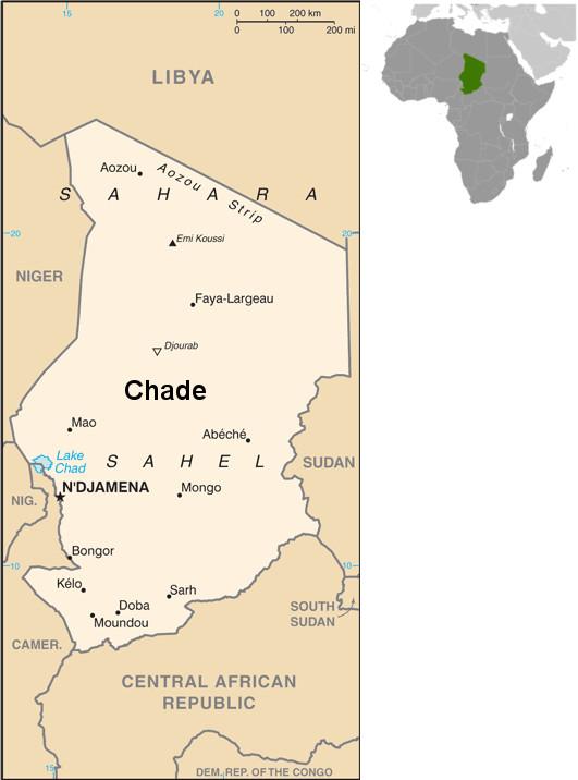 Mapa do Chade e sua localização. Fonte: CIA.gov [domínio público]