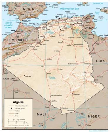 Mapa geográfico da Argélia. Fonte: Central Intelligence Agency (CIA) [domínio público]