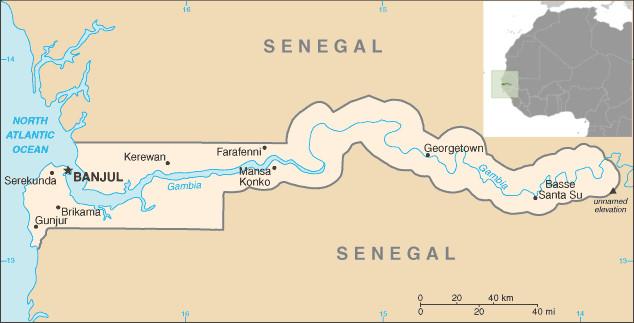 Mapa da Gâmbia. Fonte: CIA.gov