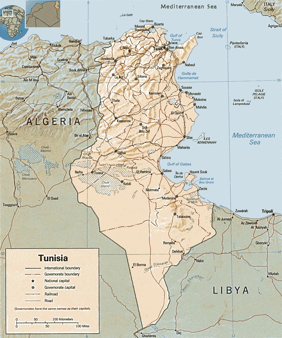 tunisia no mapa Tunísia   história, cultura, população   InfoEscola tunisia no mapa