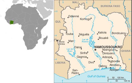 Mapa da Costa do Marfim. Fonte: CIA.gov
