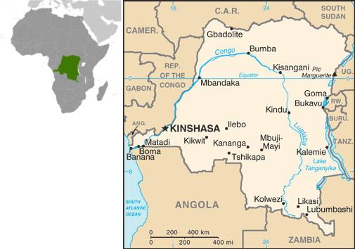 Mapa da República Democrática do Congo. Fonte: CIA.gov