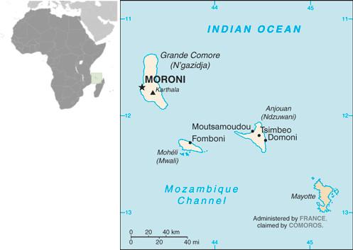 Mapa de Comores e sua localização na costa da África. Fonte: CIA.gov