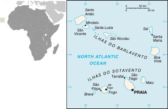 Mapa de Cabo Verde e sua localização. Fonte: CIA.gov