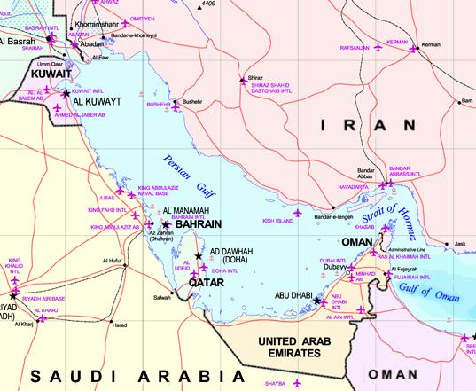Golfo Pérsico. Mapa: US Gov. / via Wikimedia Commons