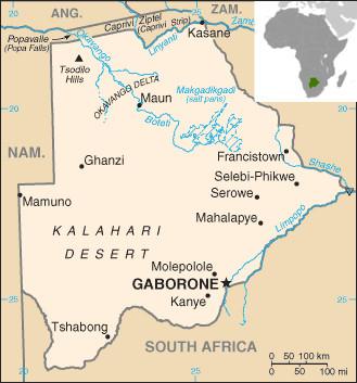 Mapa de Botswana e sua localização. Fonte: CIA [domínio público]