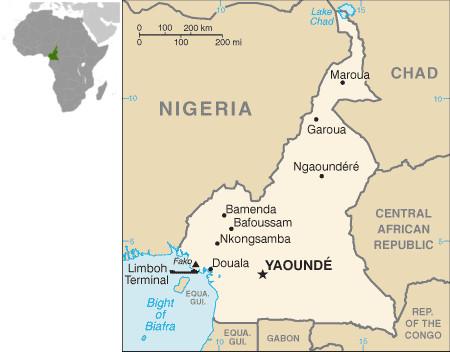 Mapa do Camarões e sua localização na África. Fonte: CIA.gov
