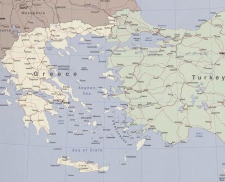 Mapa do Mar Egeu. Fonte: CIA / US Congress Library.