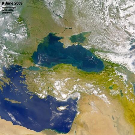 Mar Negro fotografado por um satélite. Foto: NASA.