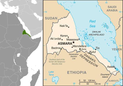 Mapa da Eritreia. Fonte: CIA.gov