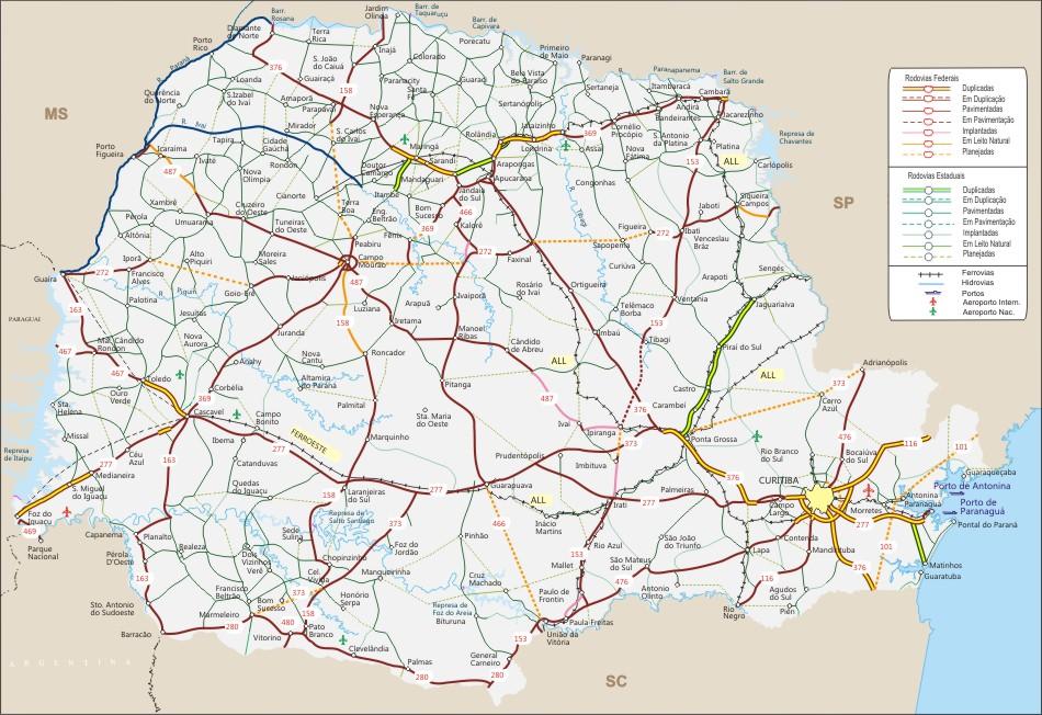 Mapa Rodoviario Do Parana Geografia Infoescola