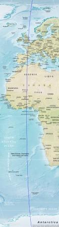 Meridiano de Greenwich. (Mapa: CIA.gov) [adaptado]