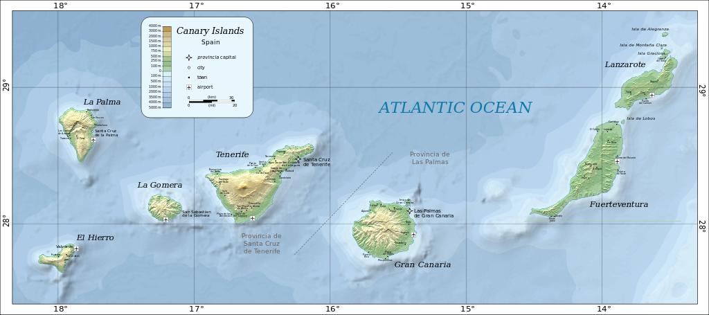 Mapa das Ilhas Canárias. Ilustração: Oona Räisänen (Mysid) [Public domain], via Wikimedia Commons