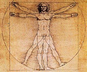 O Homem Vitruviano, desenho de Leonardo da Vinci, 1490.
