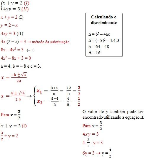 sistema equacoes 2o grau