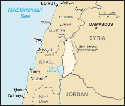 Colinas de Golã (em bege). Mapa: CIA World Factbook / Public Domain / via Wikimedia Commons