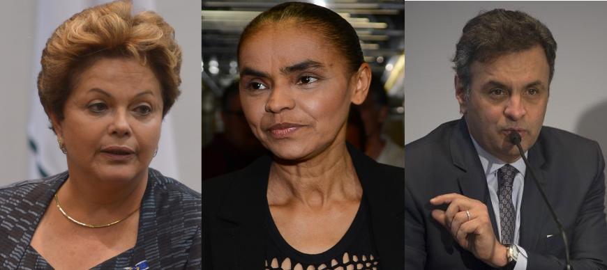 Candidatos à Presidência da República nas eleições de 2014. Fotos: Agência Brasil / CC-BY 3.0