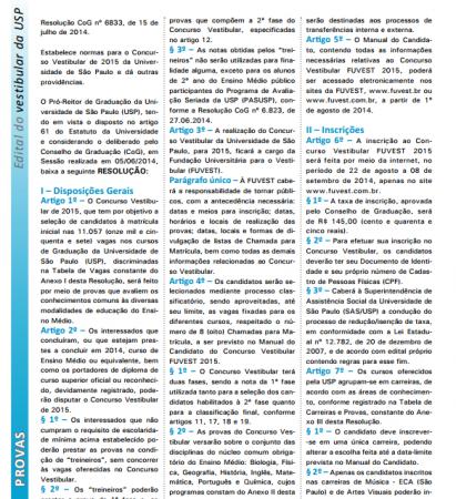 Reprodução da primeira página do Edital 2015 da FUVEST (clique para ampliar)
