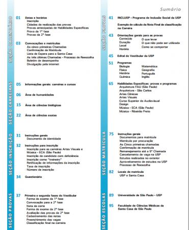 Reprodução do sumário do Manual do Candidato - FUVEST 2015 (clique para ampliar)