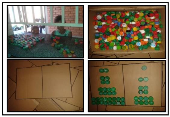 Quadro 1: etapa de recolhimento de tampinhas e confecção de base para os cálculos.