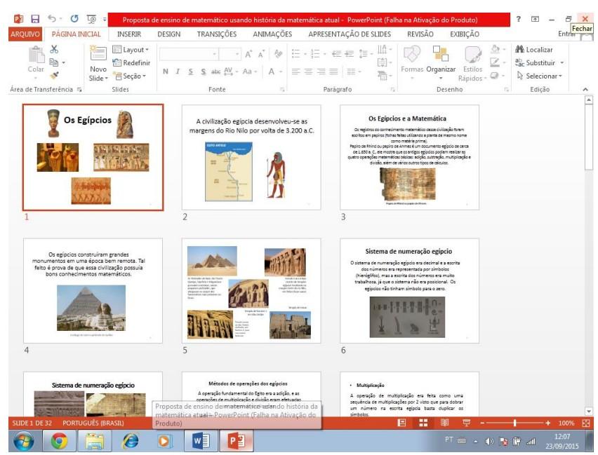 Quadro 2: etapa de montagem de apresentação de slide.
