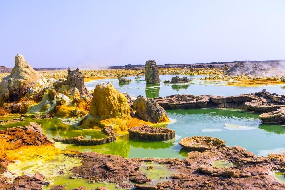 Enxofre nas proximidades do vulcão Dallol, na Etiópia. Foto: Einat Klein Photography / Shutterstock.com