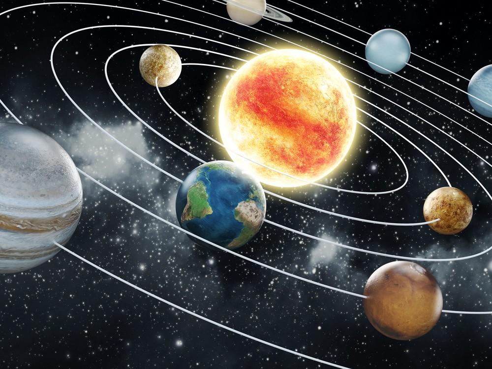 A zona habitável encontra-se entre os planetas Vênus e Marte (planetas estão desproporcionais). Ilustração: cigdem / Shutterstock.com.