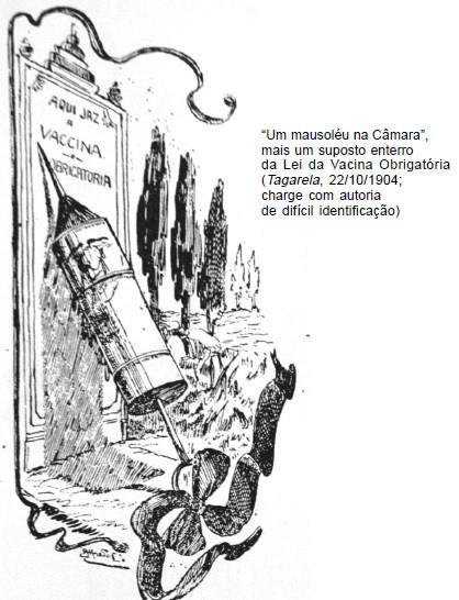 """Figura 04: """"Aqui jaz a vaccina obrigatória"""" Fonte: 1904 – Revolta da Vacina. A maior batalha do Rio (p.80)"""