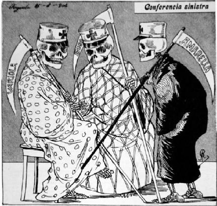 """Figura 02: """"Conferencia sinistra"""" Fonte: 1904 – Revolta da Vacina. A maior batalha do Rio (p.29)"""