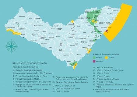 Unidades de Conservação do Estado de Alagoas. Fonte: Instituto do Meio Ambiente - Alagoas
