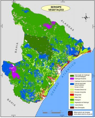 Tipos de Vegetação do Estado de Sergipe. Fonte: Observatório de Sergipe. (clique para ampliar)