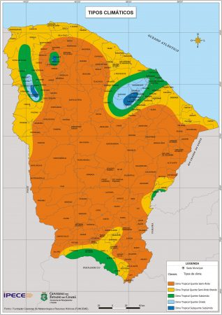 Mapa dos Tipos Climáticos do Estado do Ceará. Fonte: IPECE / Governo do estado do Ceará. (clique para ampliar)