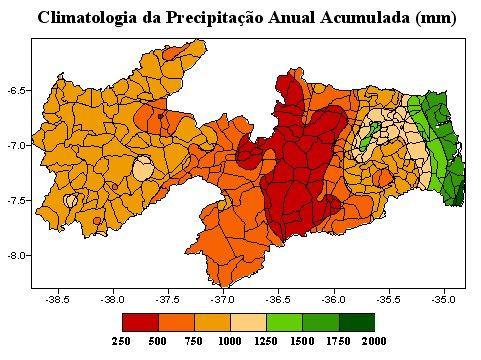 Mapa da Média de Precipitação Anual no Estado da Paraíba. Mapa: Agência Executiva de Gestão das Águas do Estado da Paraíba.