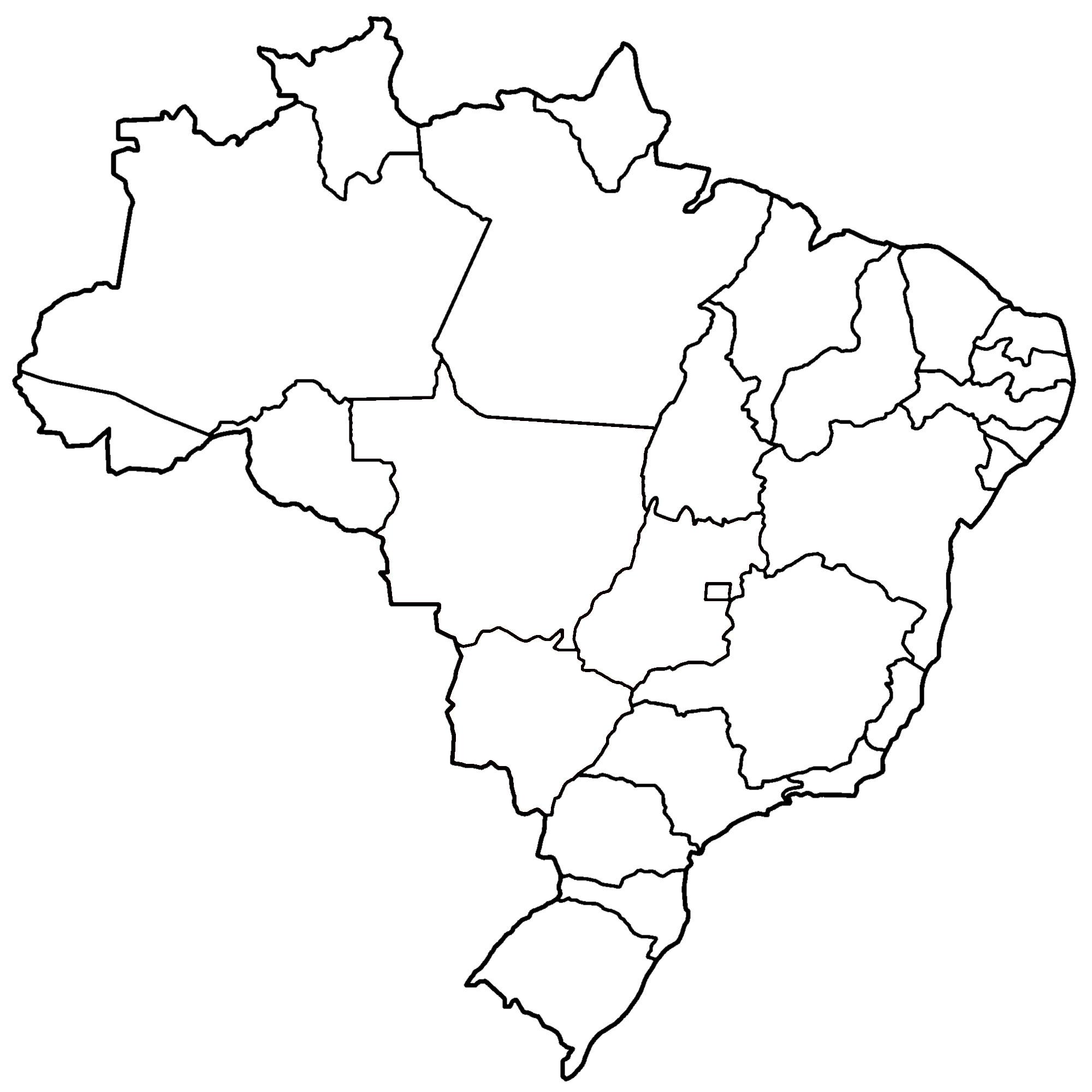 Mapa Do Brasil Por Estados E Regioes Em Branco E Colorido