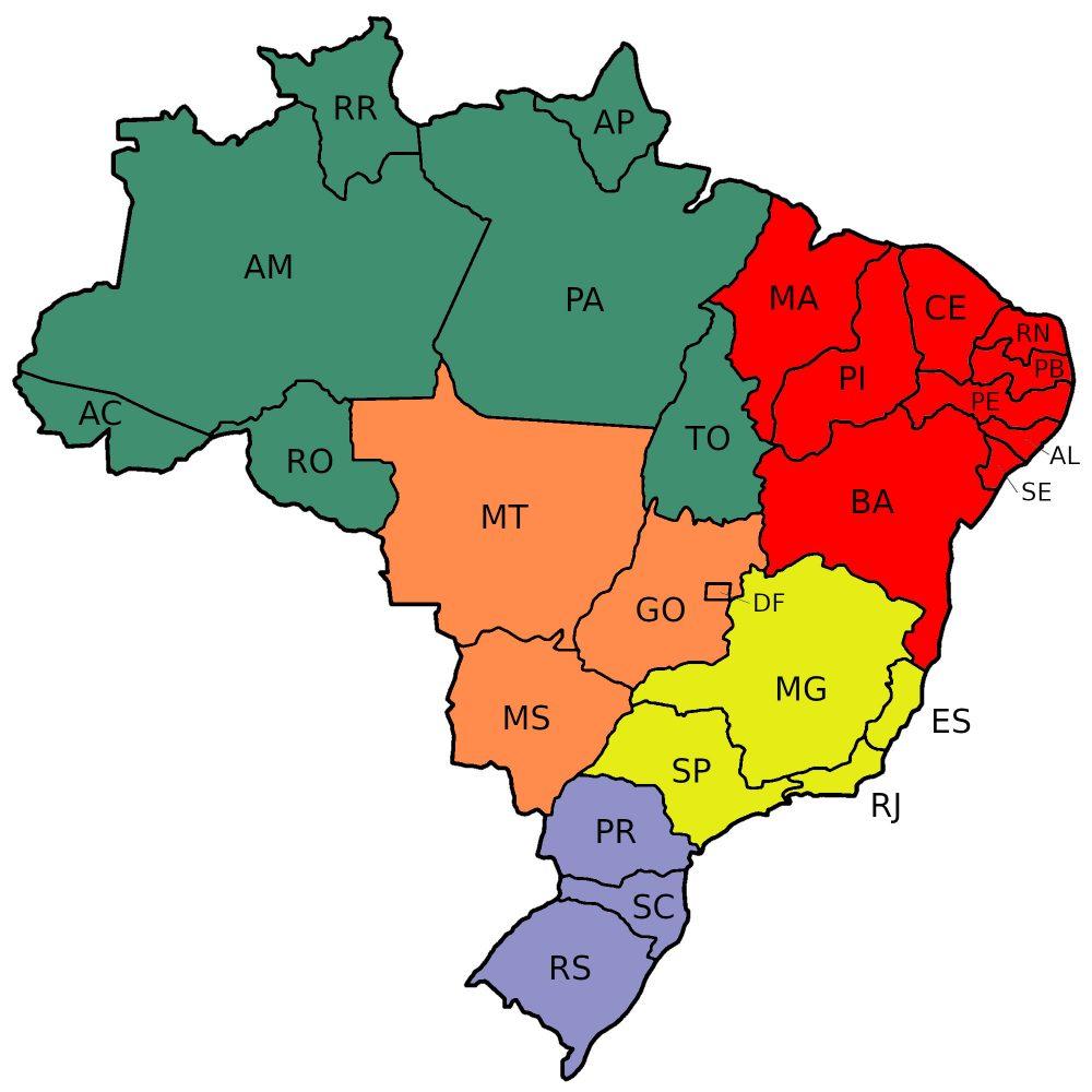 Mapa Do Brasil Por Estados E Regi U00f5es Em Branco E