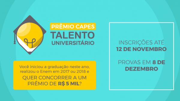 Prêmio CAPES Talento Universitário: inscrição vai até hoje