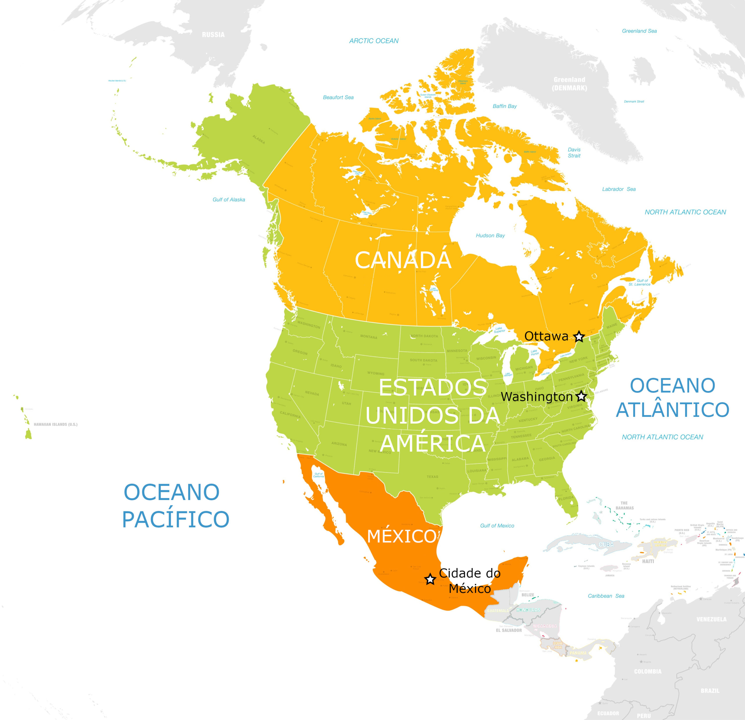 Capitais Da America Do Norte Informacoes Mapas E Fotos Geografia Infoescola